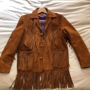 Vintage Brown Suede Fringe Jacket